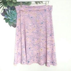 Lularoe Azure Skirt Pink Splatter Paint Print
